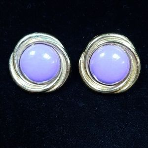 Vintage Round Plastic Lavender Pierced earrings